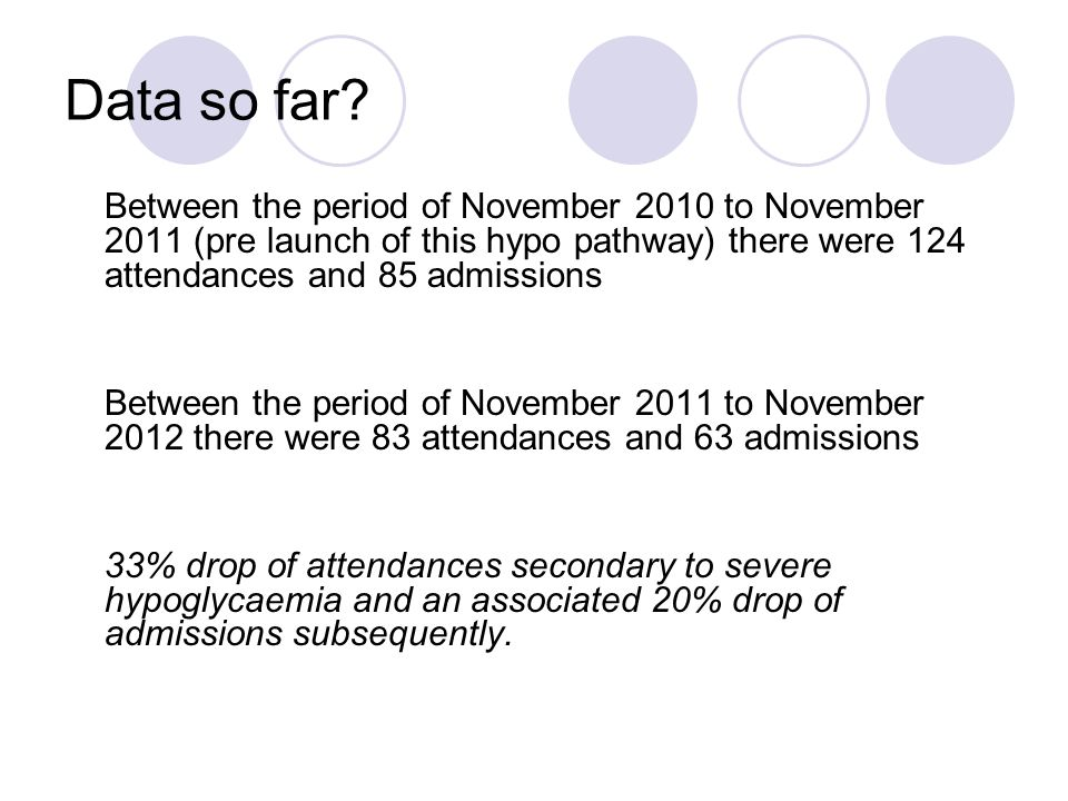 Data so far Between the period of November 2010 to November 2011 (pre launch of this hypo pathway) there were 124 attendances and 85 admissions.