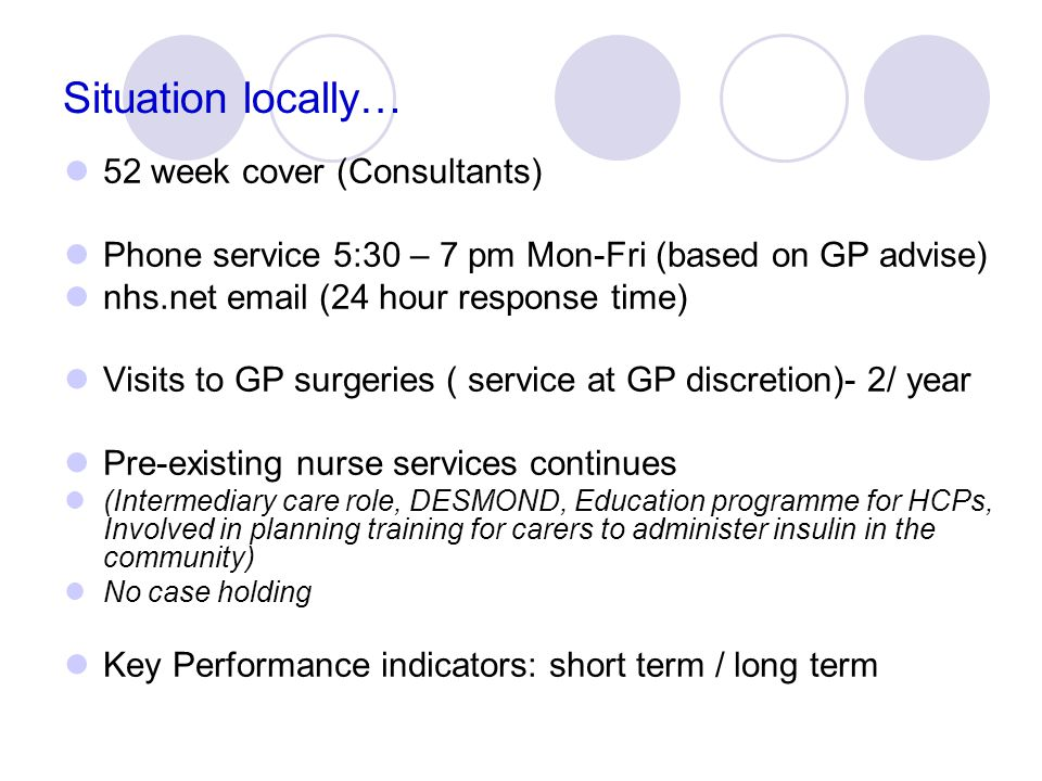 Situation locally… 52 week cover (Consultants)