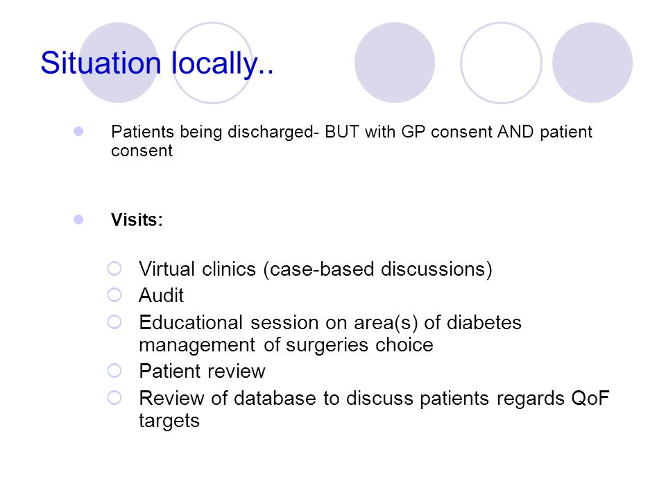 Situation locally.. Virtual clinics (case-based discussions) Audit