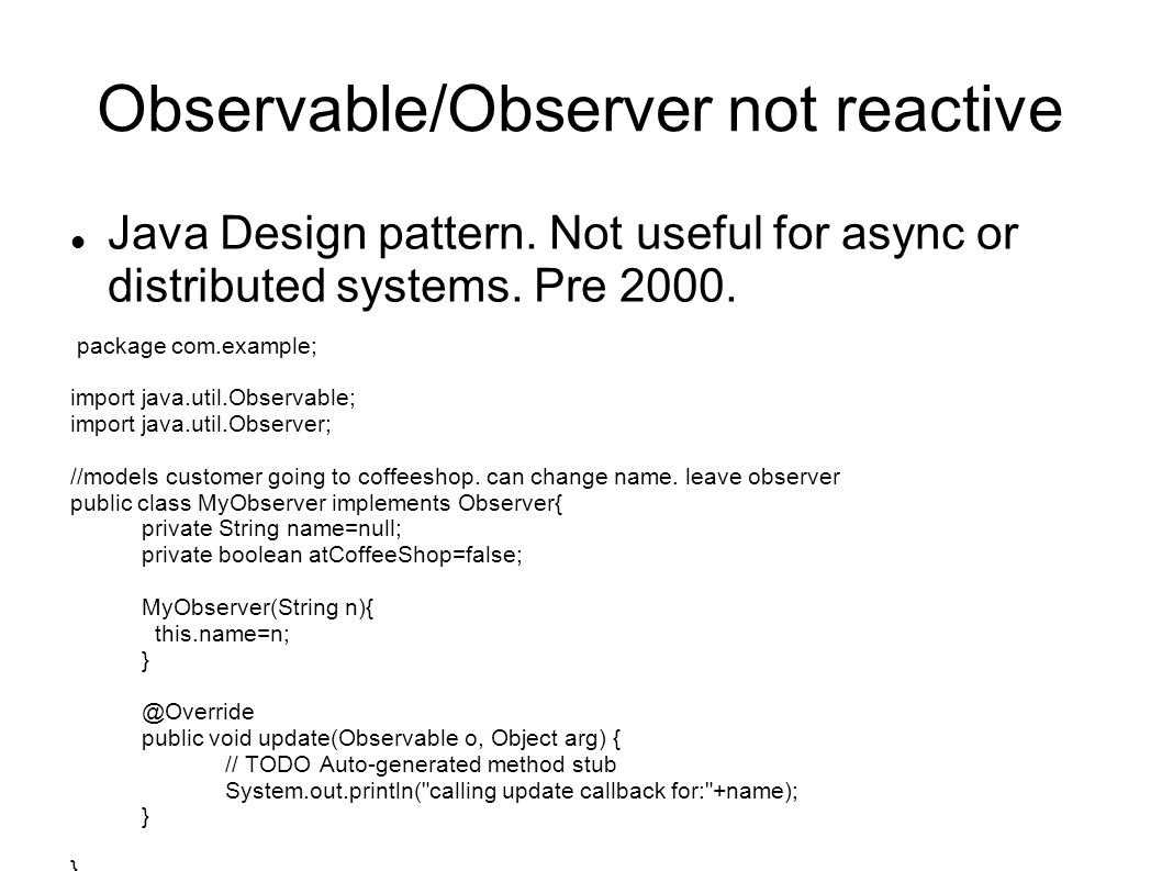 Observable/Observer not reactive
