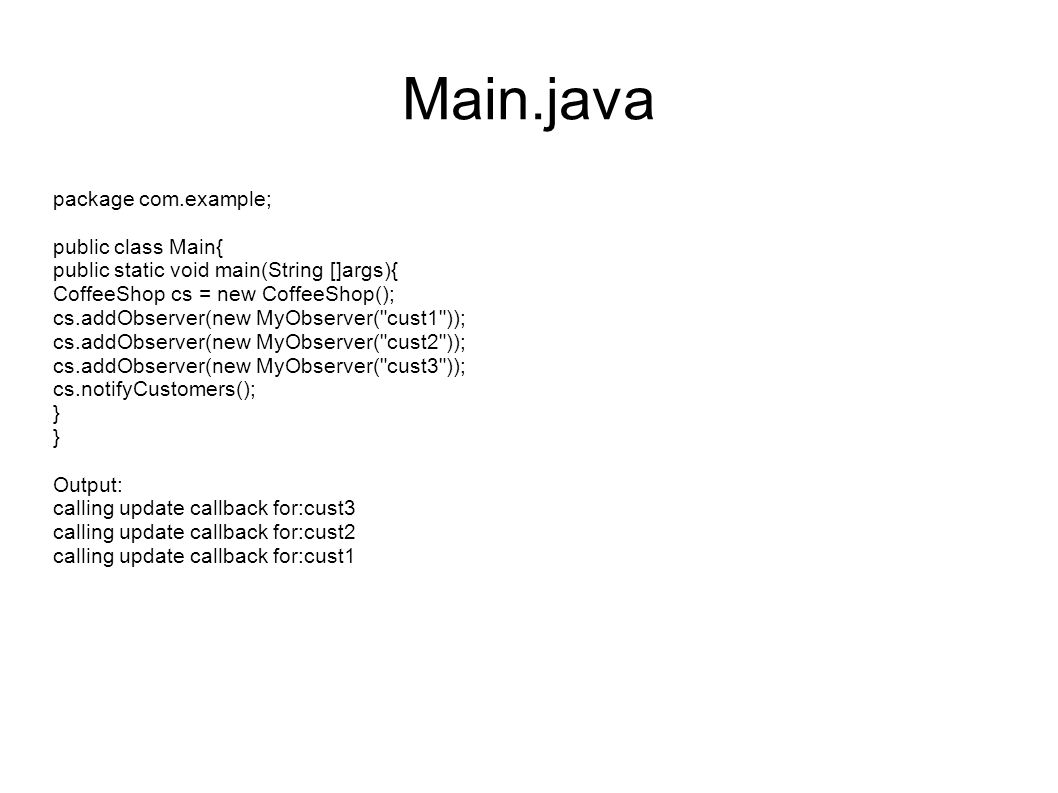 Main.java package com.example; public class Main{