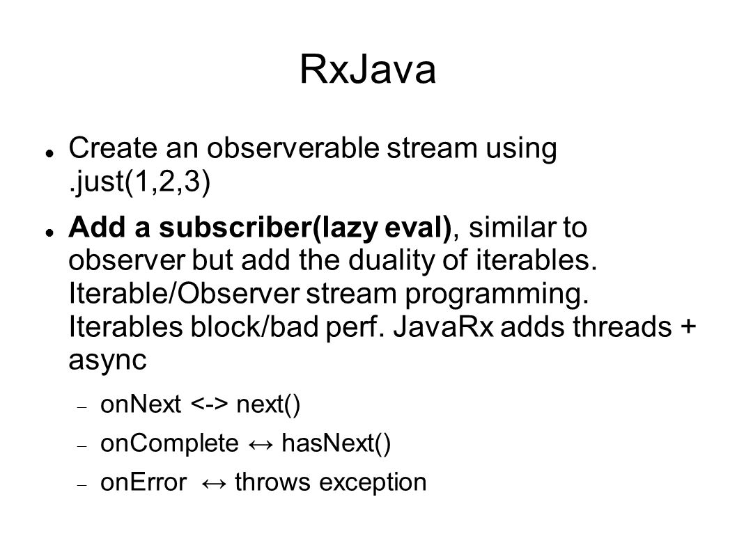 RxJava Create an observerable stream using .just(1,2,3)