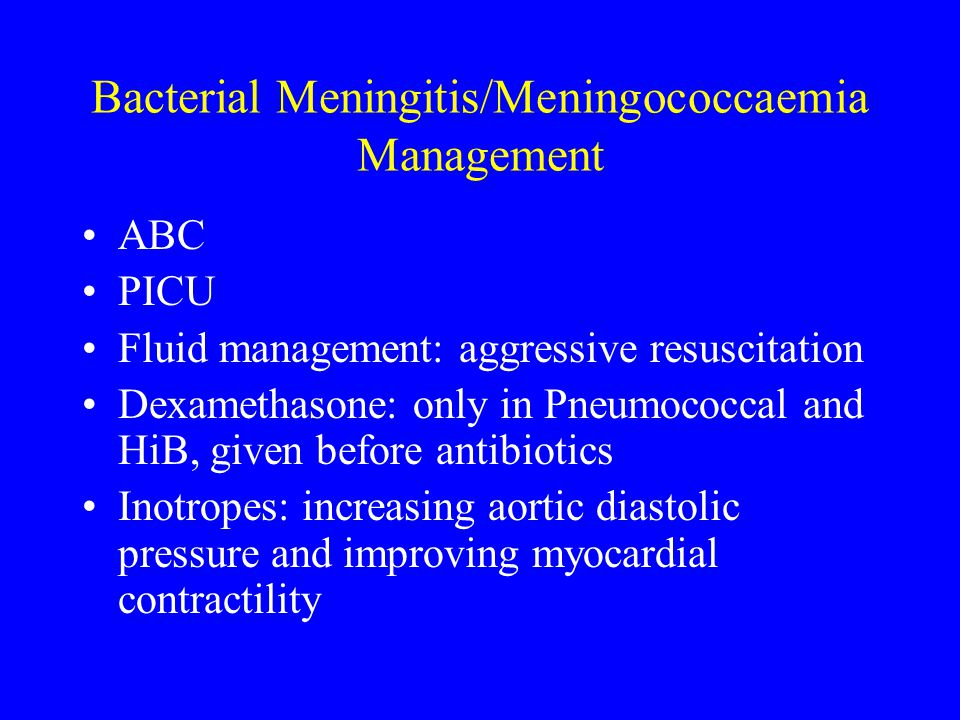 Bacterial Meningitis/Meningococcaemia Management