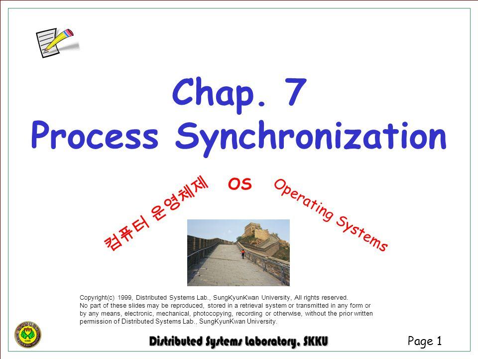 Chap. 7 Process Synchronization
