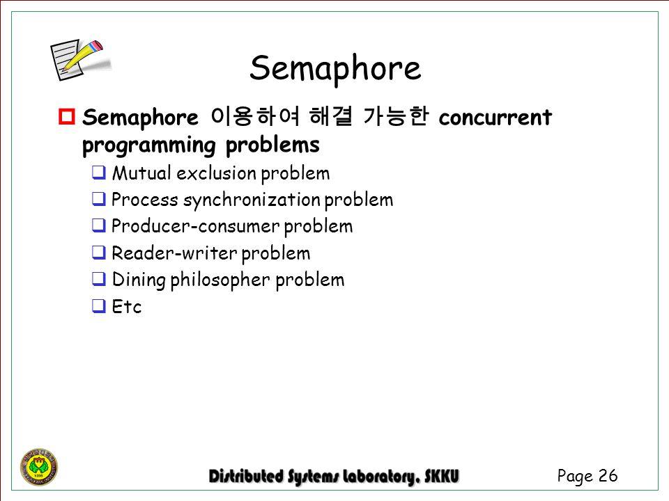 Semaphore Semaphore 이용하여 해결 가능한 concurrent programming problems