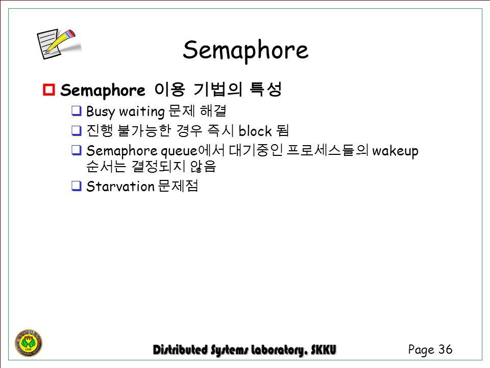Semaphore Semaphore 이용 기법의 특성 Busy waiting 문제 해결 진행 불가능한 경우 즉시 block 됨