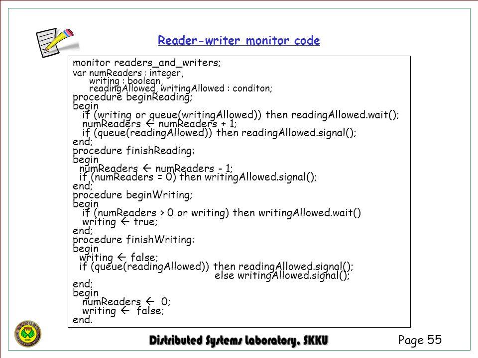 Reader-writer monitor code