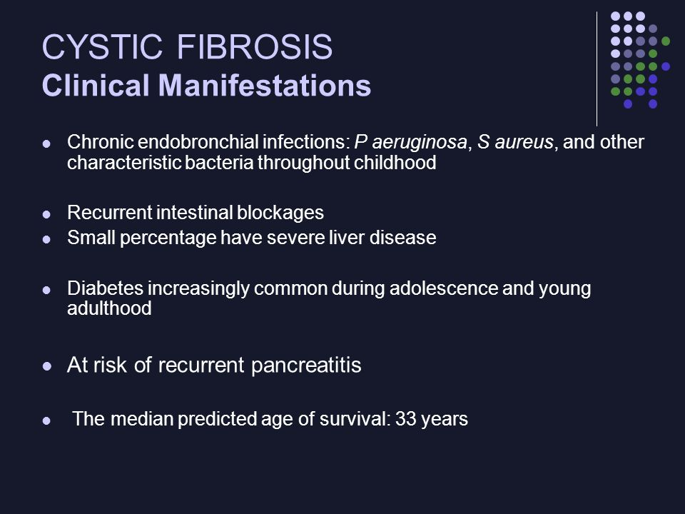 CYSTIC FIBROSIS Clinical Manifestations