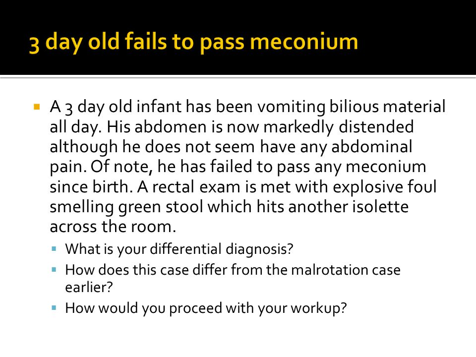 3 day old fails to pass meconium