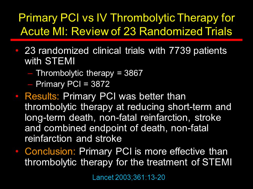 Primary PCI vs IV Thrombolytic Therapy for Acute MI: Review of 23 Randomized Trials