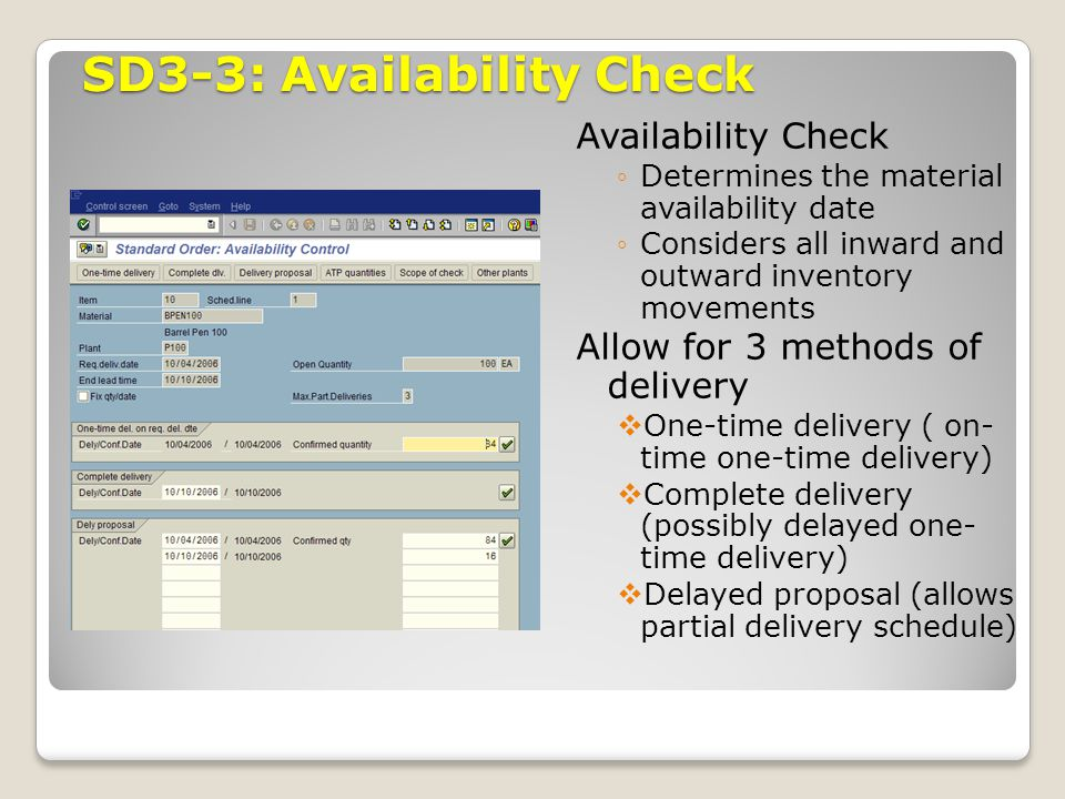 SD3-3: Availability Check