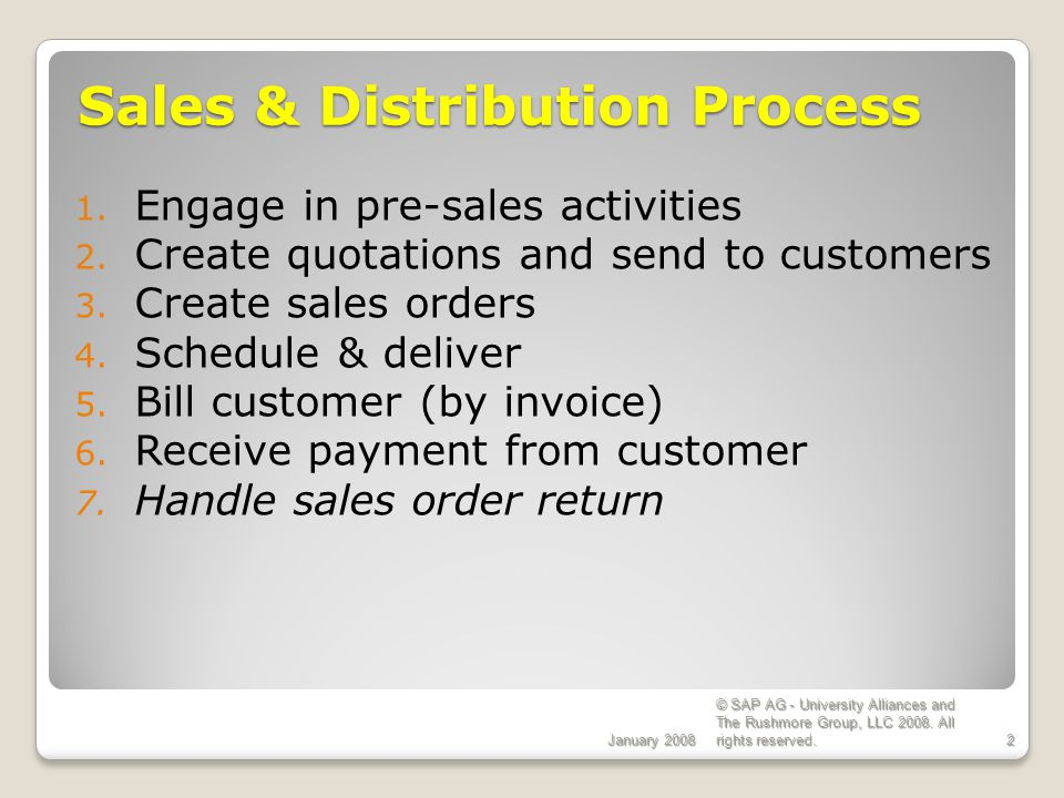 Sales & Distribution Process