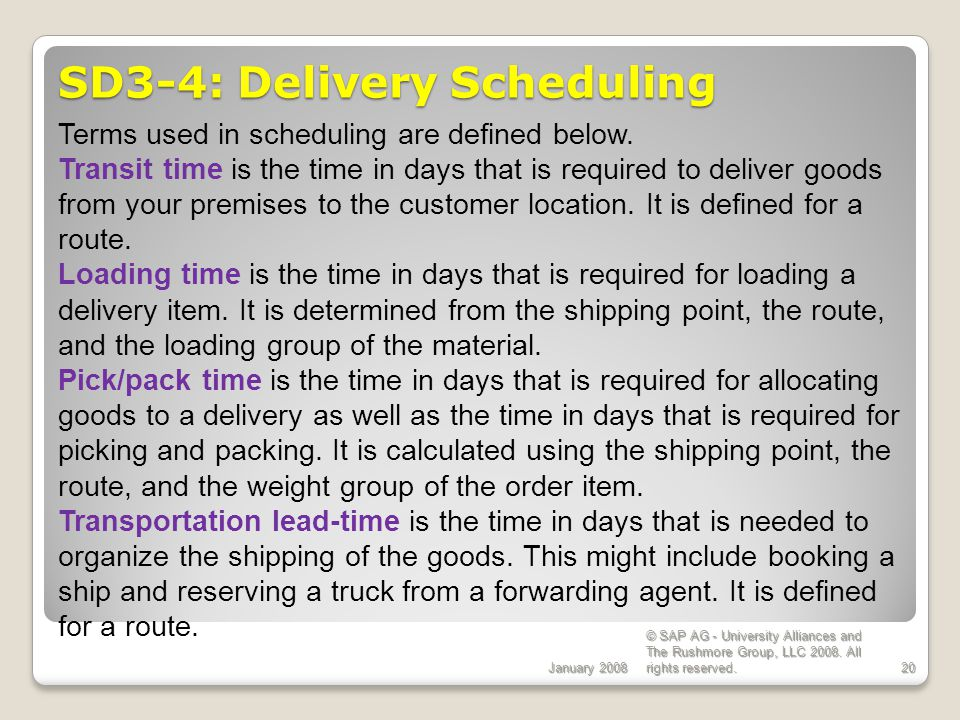 SD3-4: Delivery Scheduling