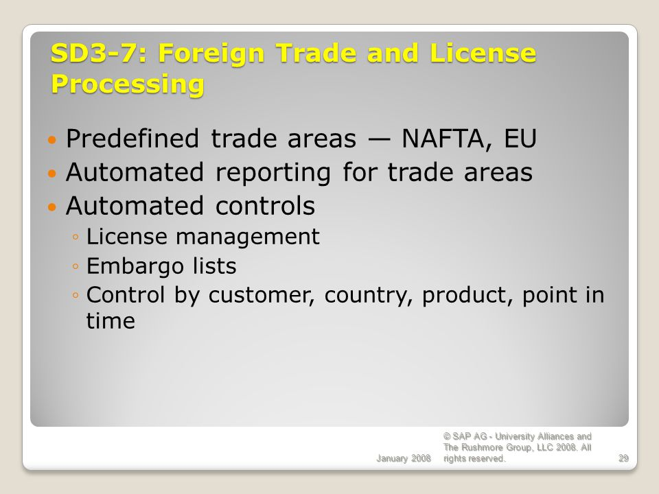 SD3-7: Foreign Trade and License Processing