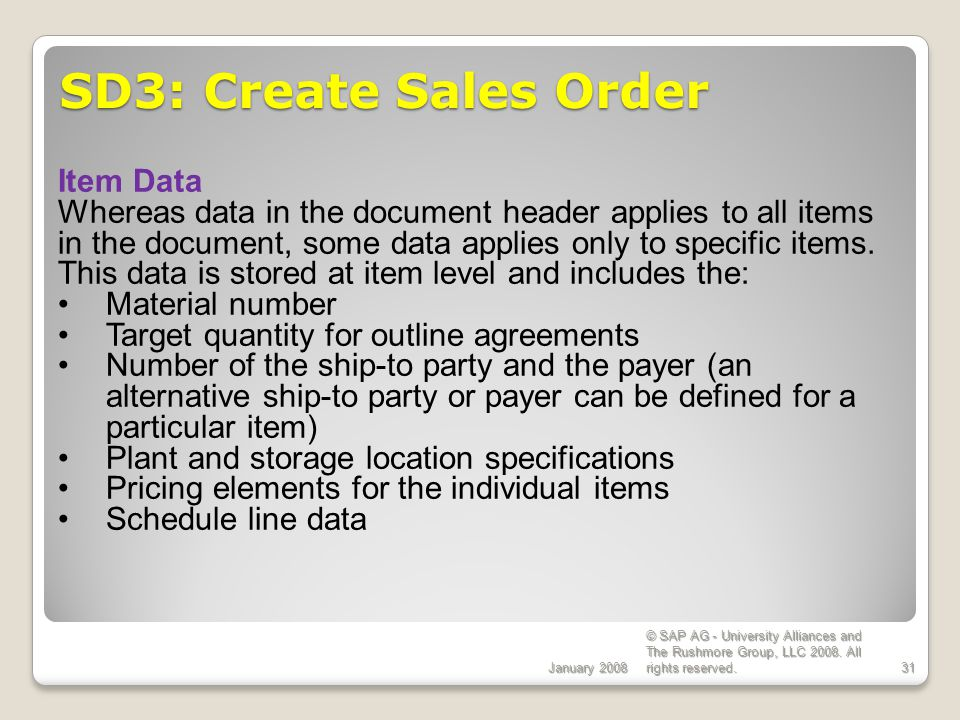SD3: Create Sales Order Item Data