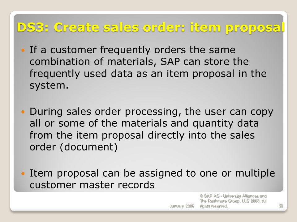 DS3: Create sales order: item proposal