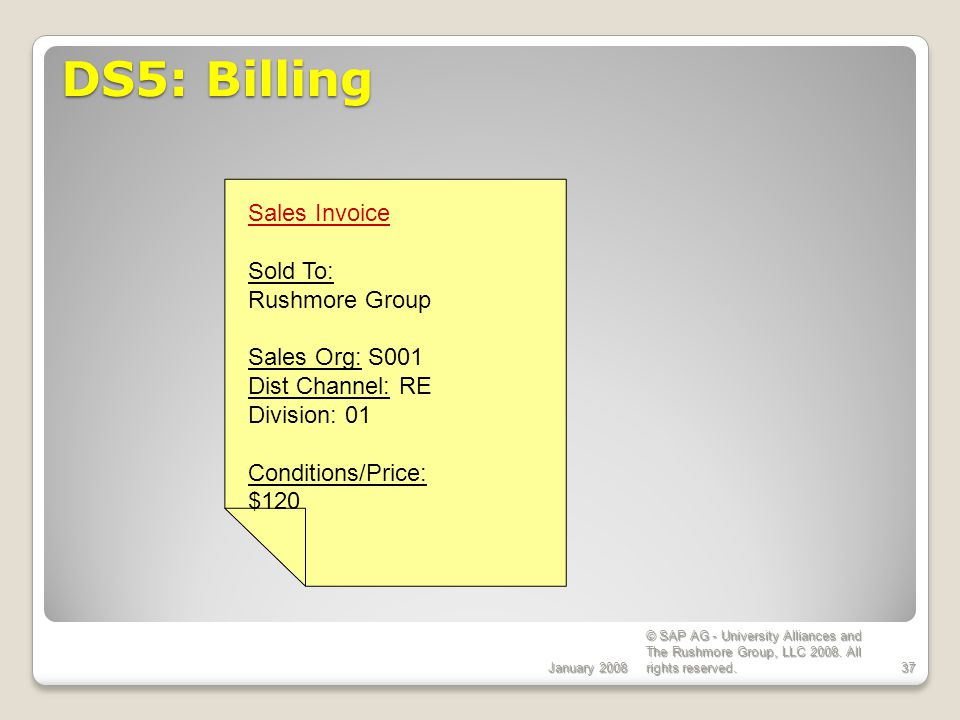 DS5: Billing Sales Invoice Sold To: Rushmore Group Sales Org: S001