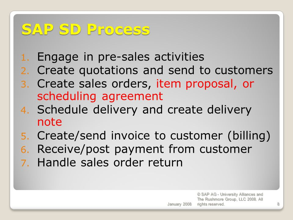 SAP SD Process Engage in pre-sales activities