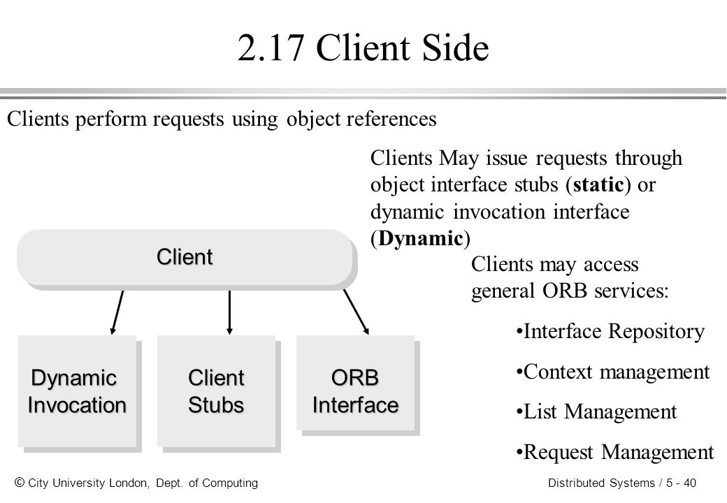2.17 Client Side Clients perform requests using object references