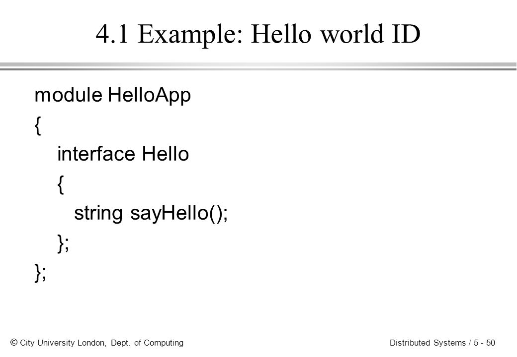 4.1 Example: Hello world ID