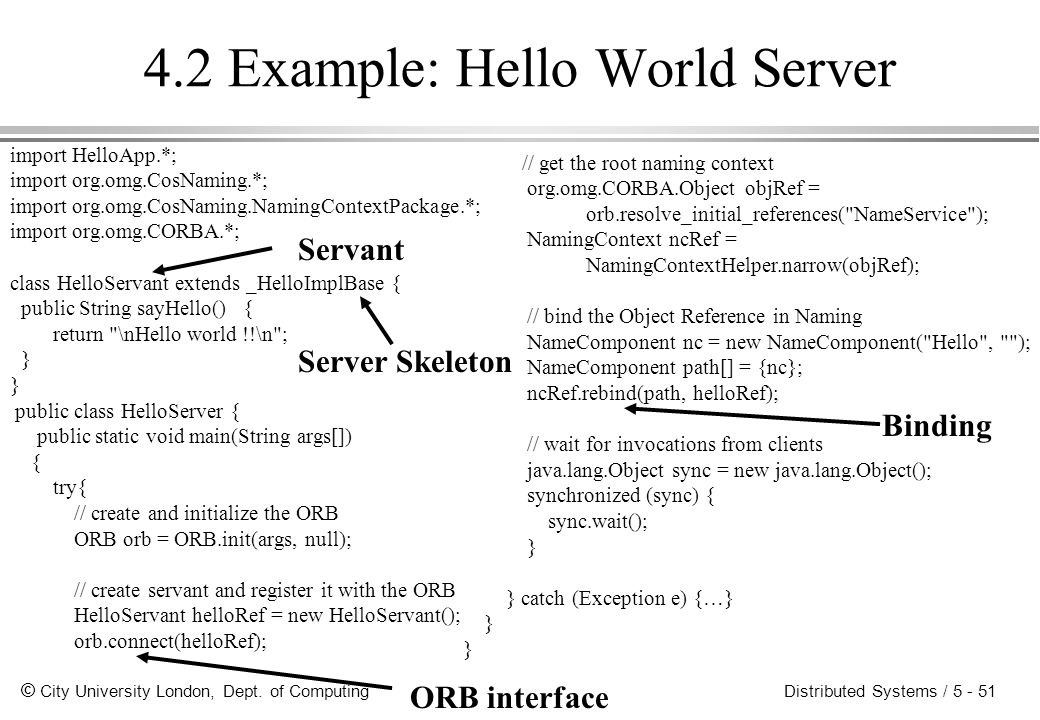 4.2 Example: Hello World Server