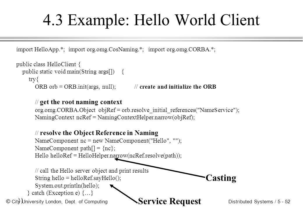 4.3 Example: Hello World Client
