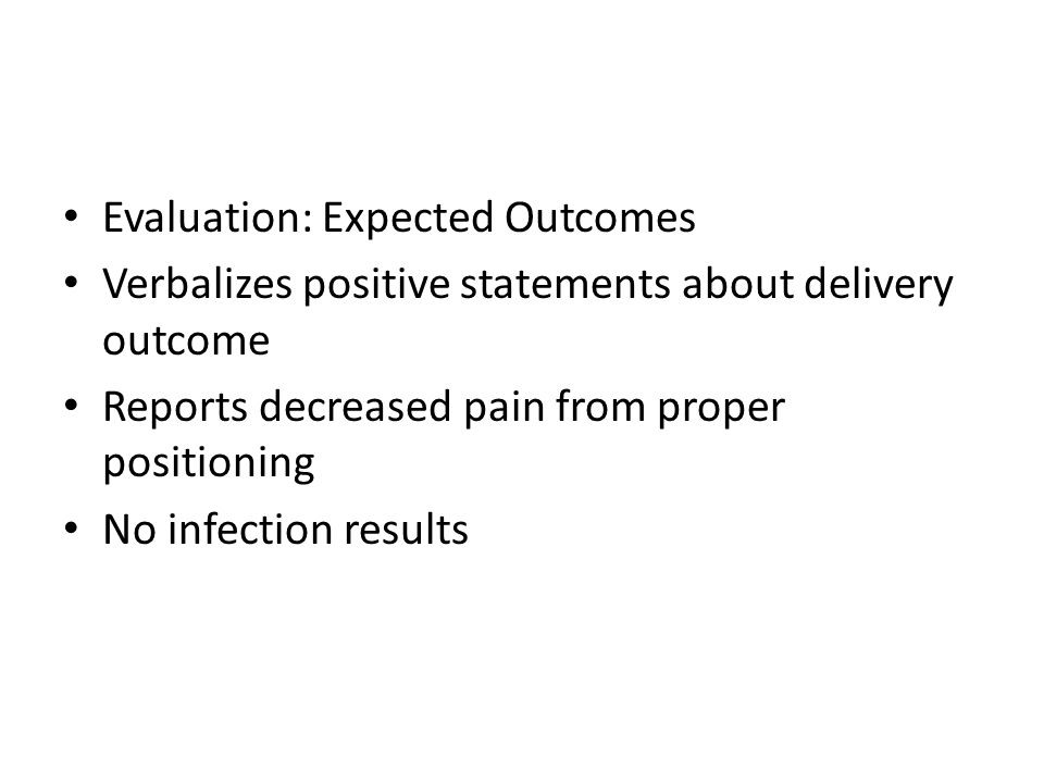 Evaluation: Expected Outcomes