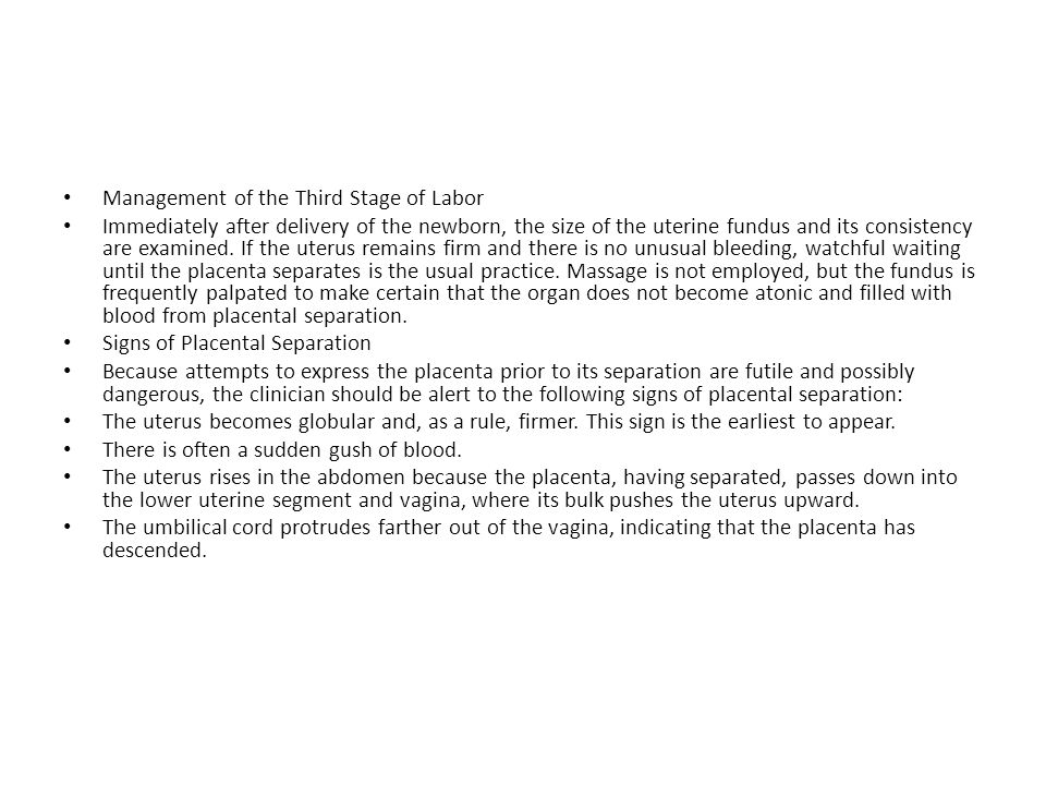 Management of the Third Stage of Labor