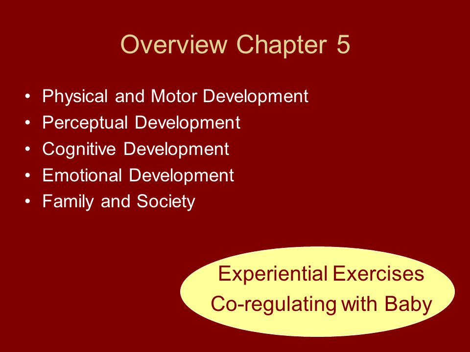 Overview Chapter 5 Experiential Exercises Co-regulating with Baby