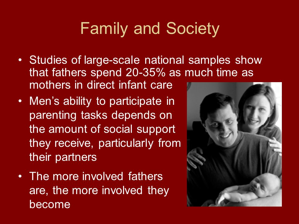 Family and Society Studies of large-scale national samples show that fathers spend 20-35% as much time as mothers in direct infant care.