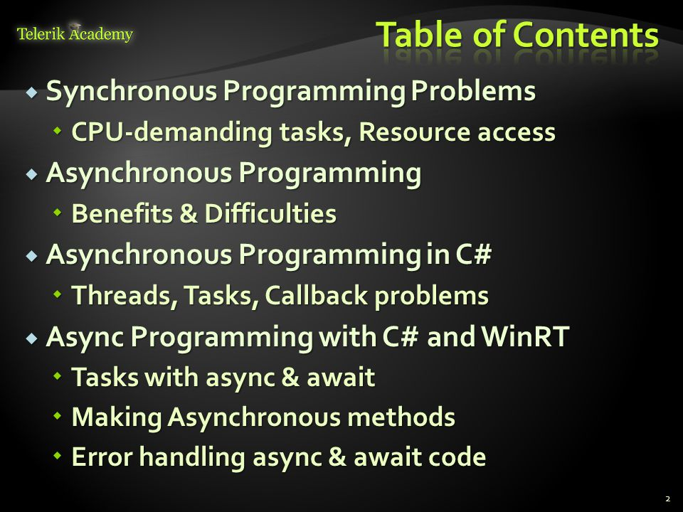 Table of Contents Synchronous Programming Problems