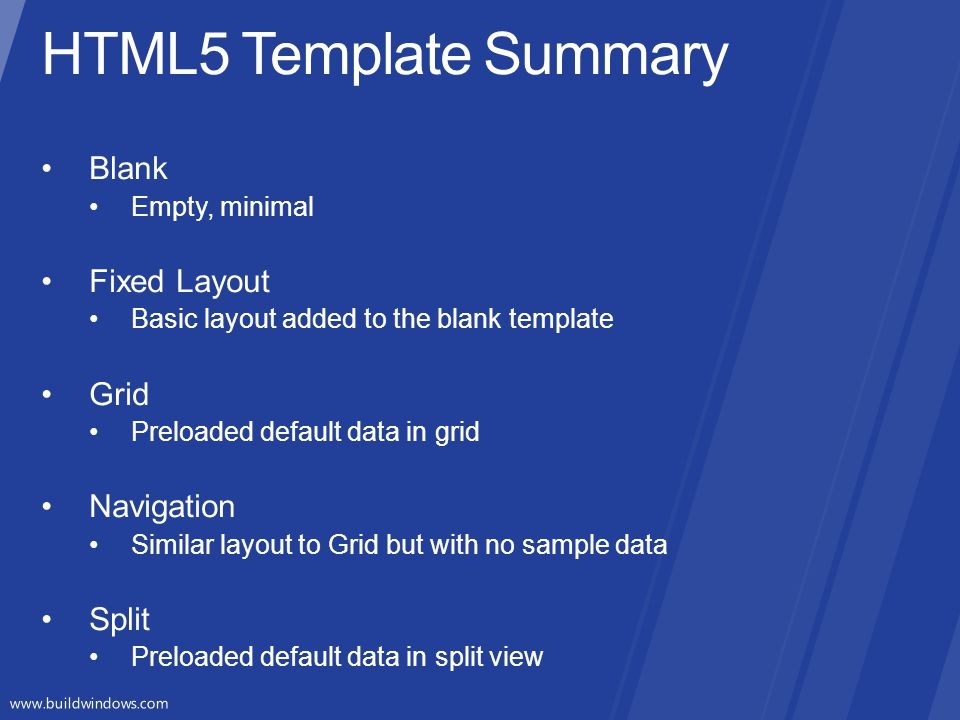 HTML5 Template Summary Blank Fixed Layout Grid Navigation Split