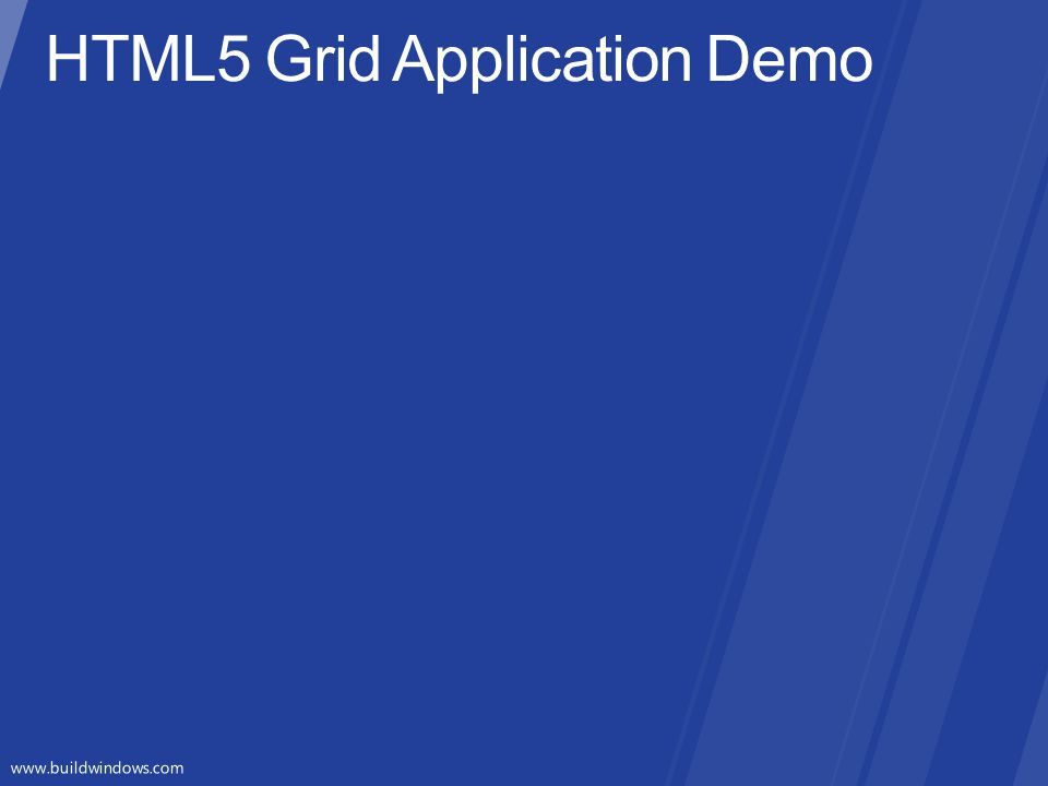HTML5 Grid Application Demo