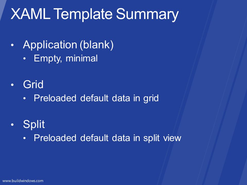 XAML Template Summary Application (blank) Grid Split Empty, minimal