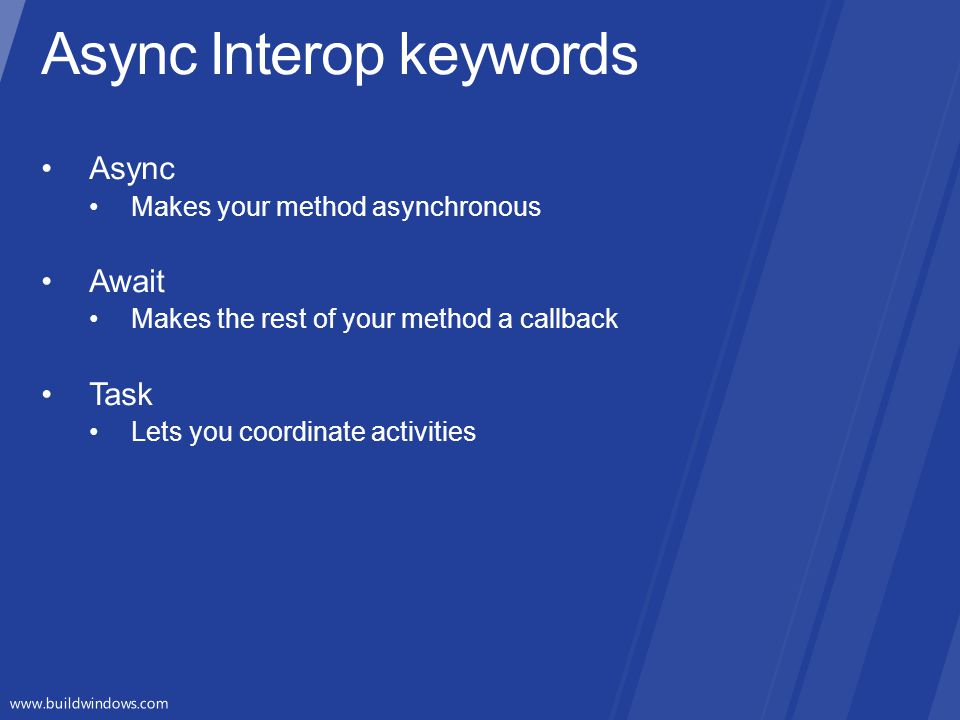 Async Interop keywords