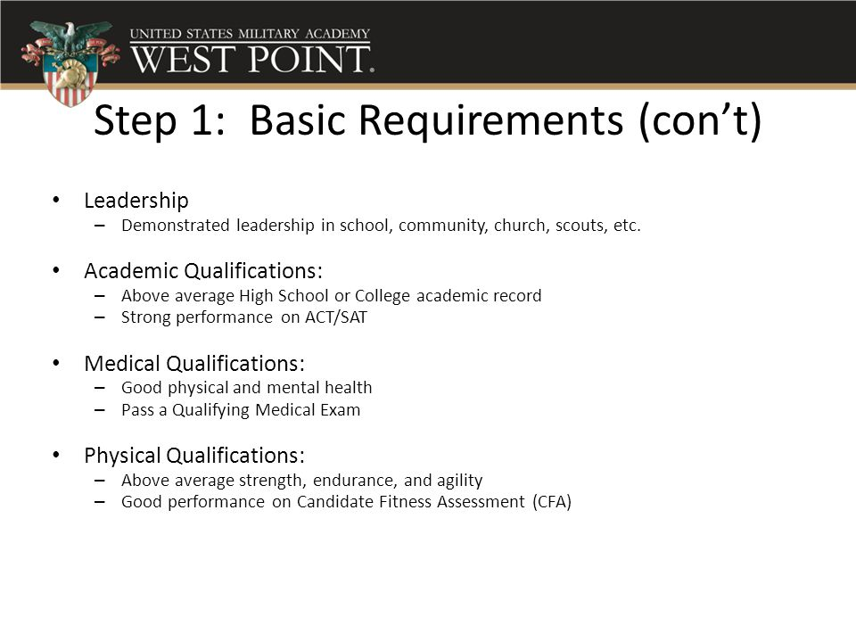 Step 1: Basic Requirements (con't)