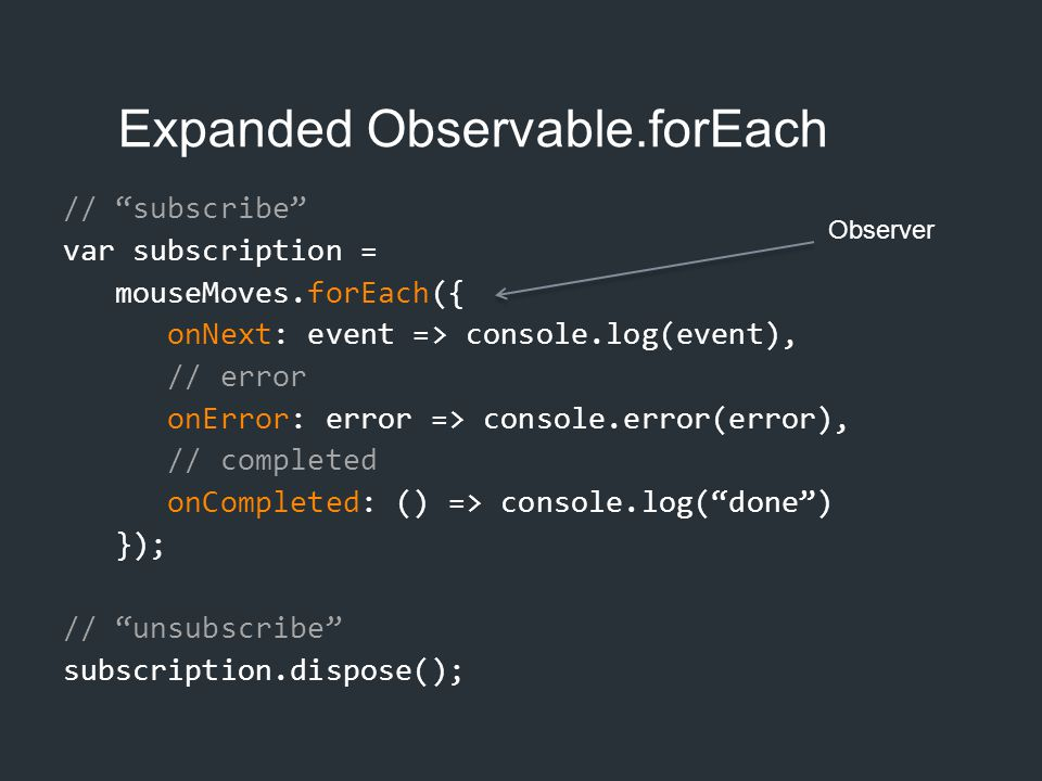 Expanded Observable.forEach