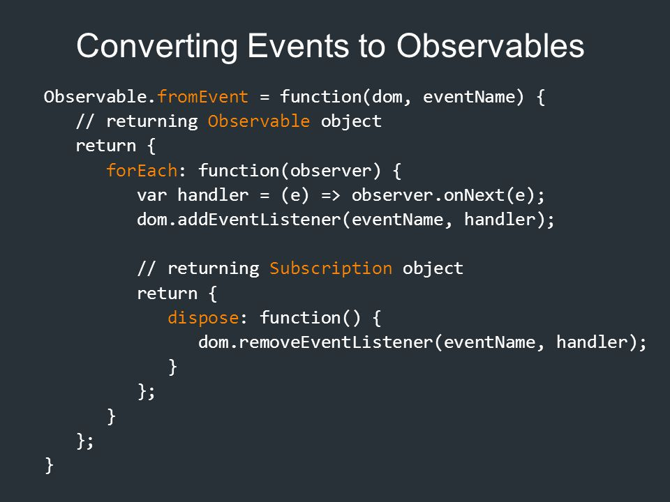 Converting Events to Observables