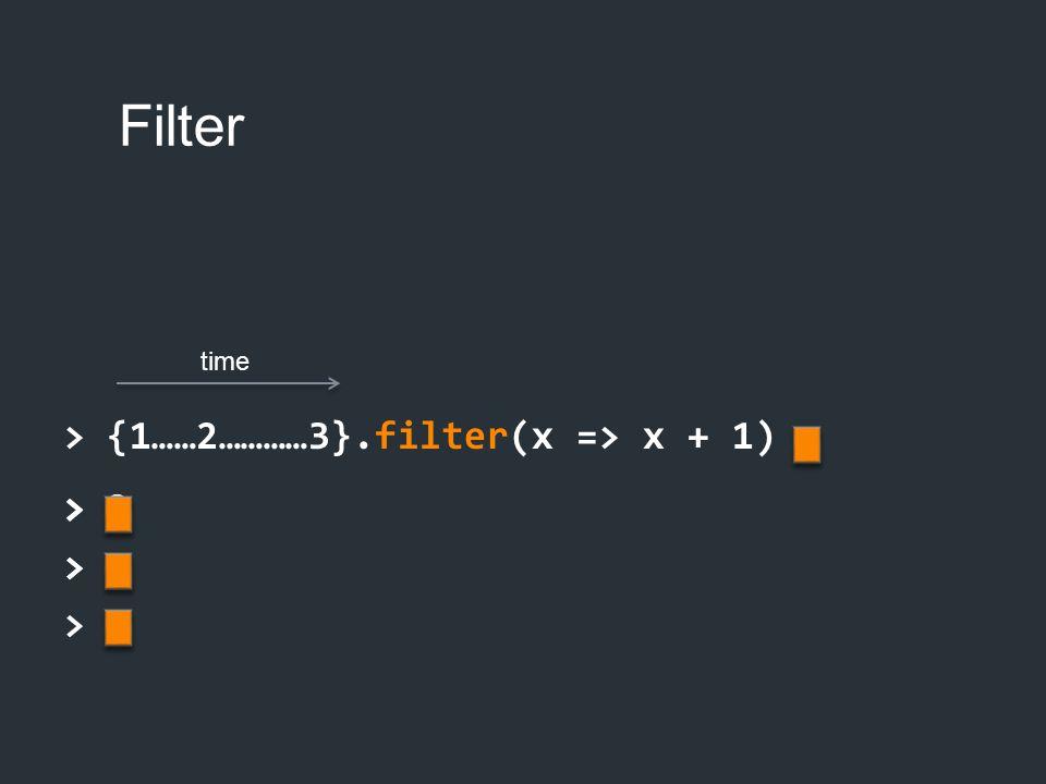 Filter > {1……2…………3}.filter(x => x + 1) > 2 > > > 2