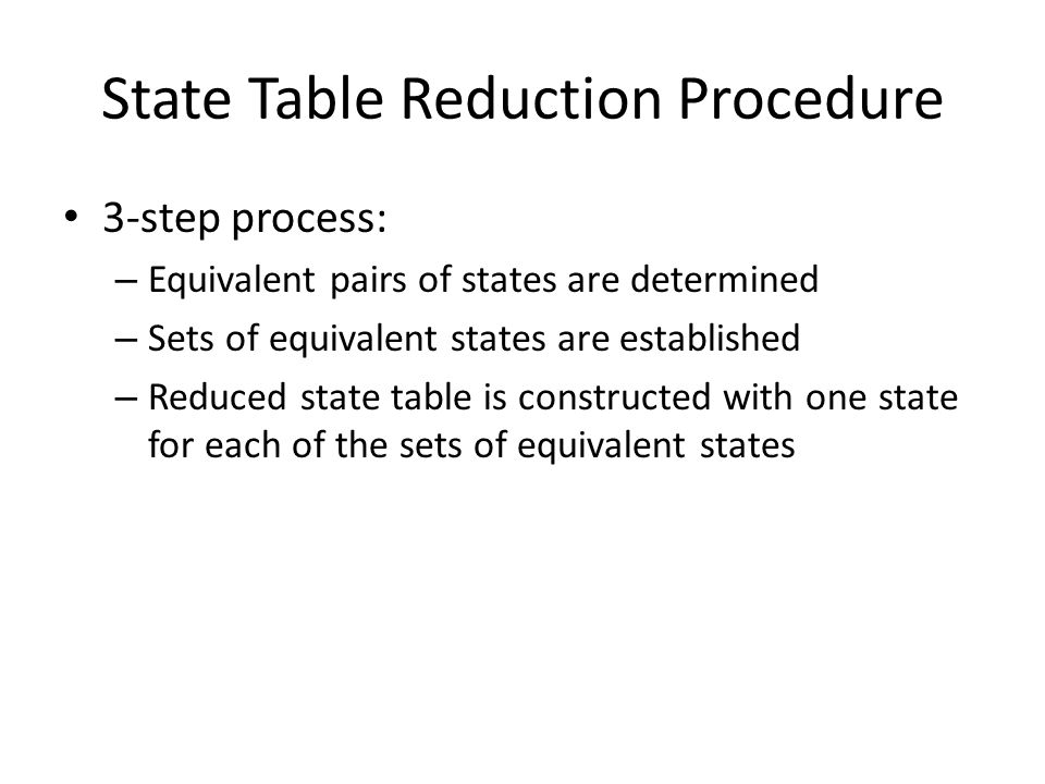 State Table Reduction Procedure