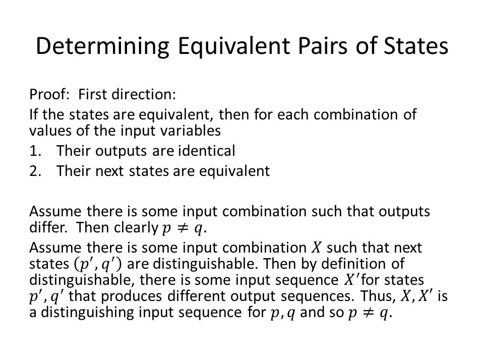 Determining Equivalent Pairs of States