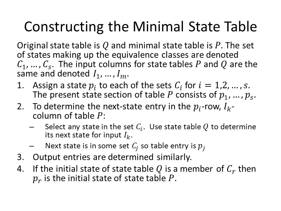 Constructing the Minimal State Table