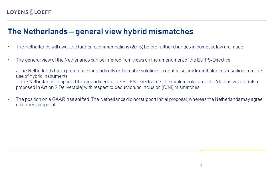 The Netherlands – general view hybrid mismatches