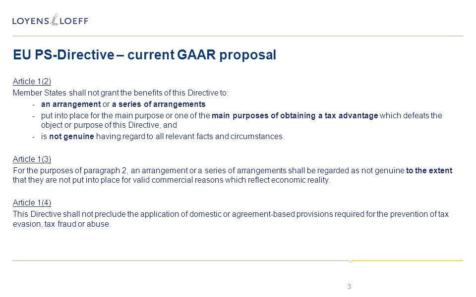 EU PS-Directive – current GAAR proposal
