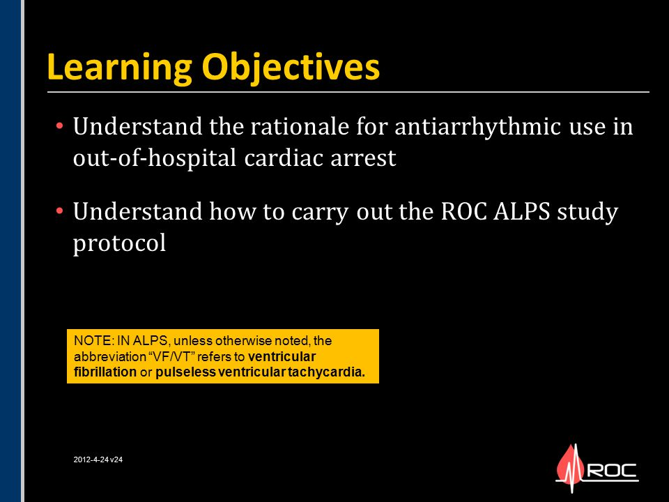 Learning Objectives Understand the rationale for antiarrhythmic use in out-of-hospital cardiac arrest.