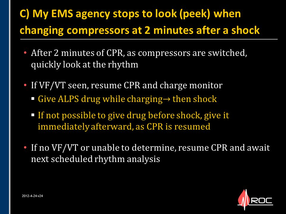 C) My EMS agency stops to look (peek) when changing compressors at 2 minutes after a shock