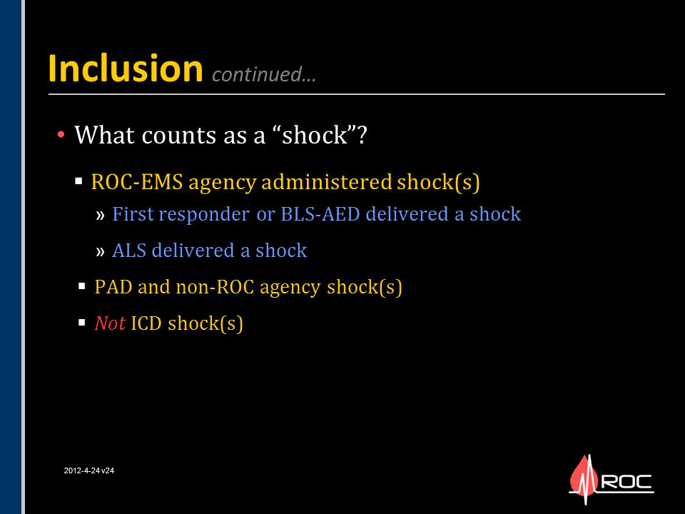 Inclusion continued… What counts as a shock