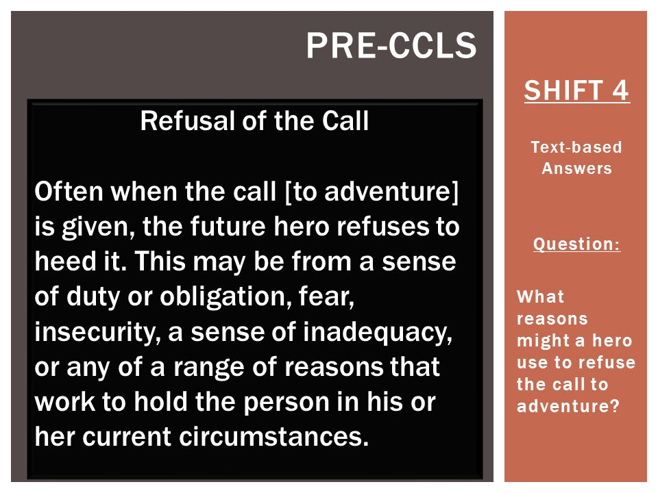 Pre-ccls SHIFT 4 Refusal of the Call