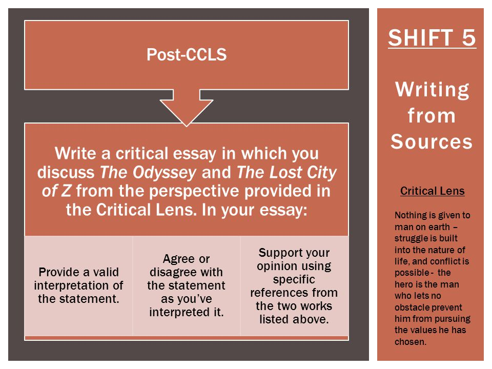 SHIFT 5 Writing from Sources