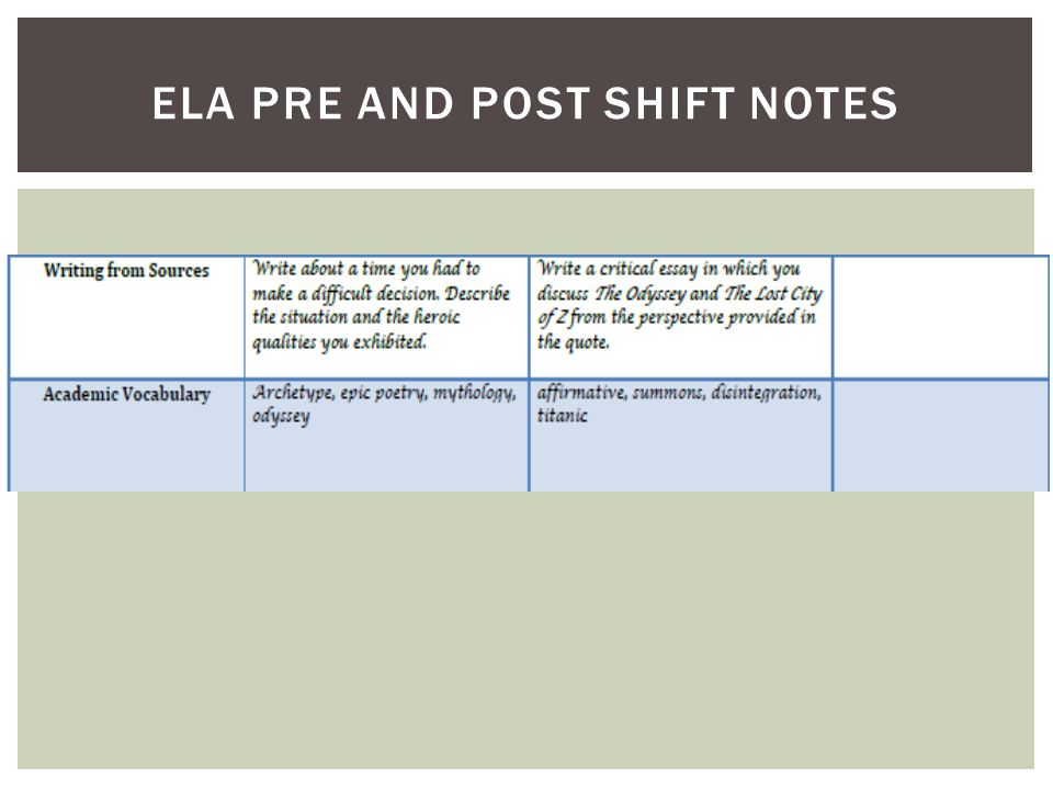 Ela pre and post shift notes
